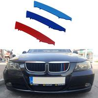 muchkey 3D M Car Front Grille Insert Trim Strips grill Cover motorsport Stickers For E90 E91(12 Grilles)