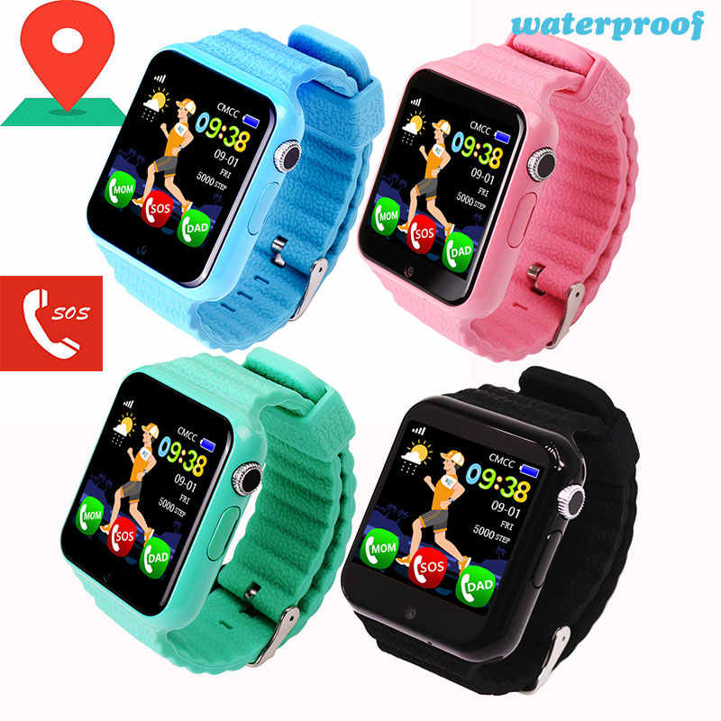 V7K Kids Smart Watch GPS Baby Tracking SOS Call Location Finder Waterproof with Camera Bluetooth Safety Monitor Sport Wristband