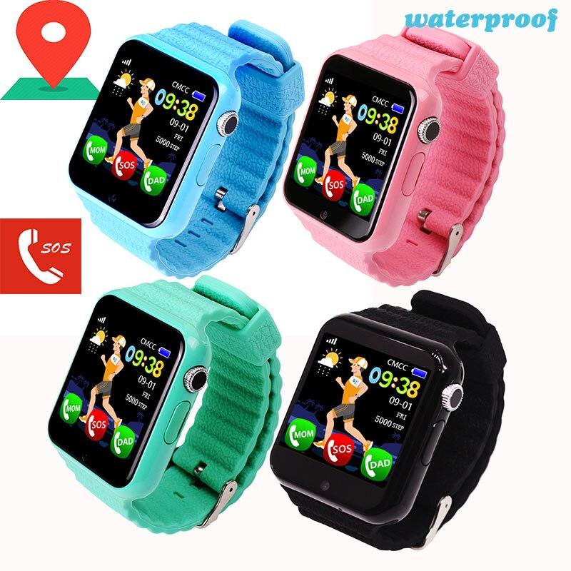 V7K Crianças Relógio Inteligente Chamada SOS Localizador GPS de Rastreamento Do Bebê À Prova D Água com Bluetooth Câmera de Segurança Monitor de Esporte Pulseira