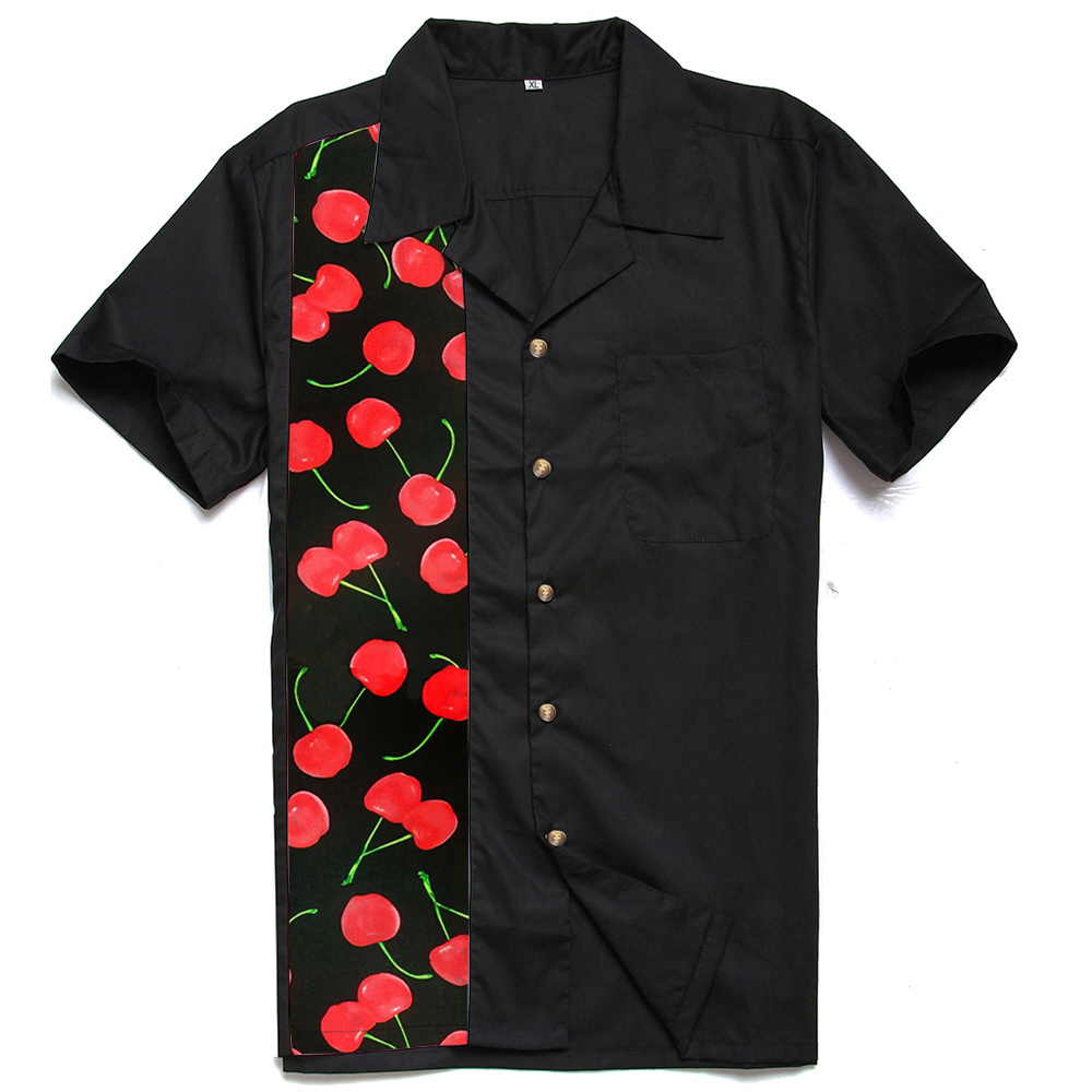 Big Size Mens Shirts Rock And Roll Hip Hop 50's Retro Clothes Cherry Printed Short Sleeve Casual Camisa Masculina Free Shipping
