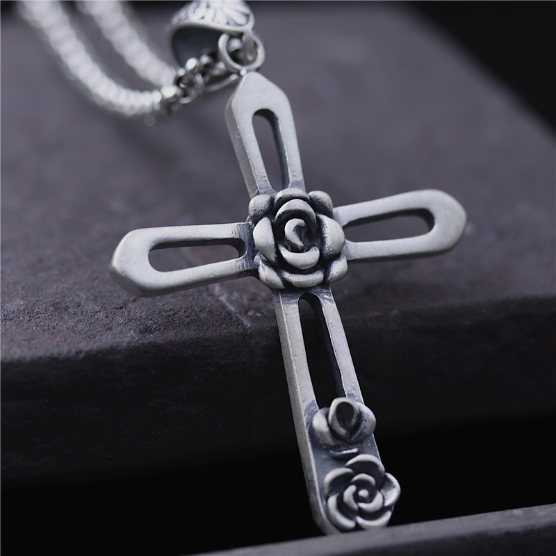 Necklaces & Pendants Cross With Rose Real Pure 925 Sterling Silver Retro Vintage Ethnic Amulets And Talismans Men JewelryNecklaces & Pendants Cross With Rose Real Pure 925 Sterling Silver Retro Vintage Ethnic Amulets And Talismans Men Jewelry