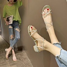 Liren 2019 Summer Sweet Lady Sandals PU Transparent Narrow Band Style Round Open Toe Fashion Women Square Low Heels