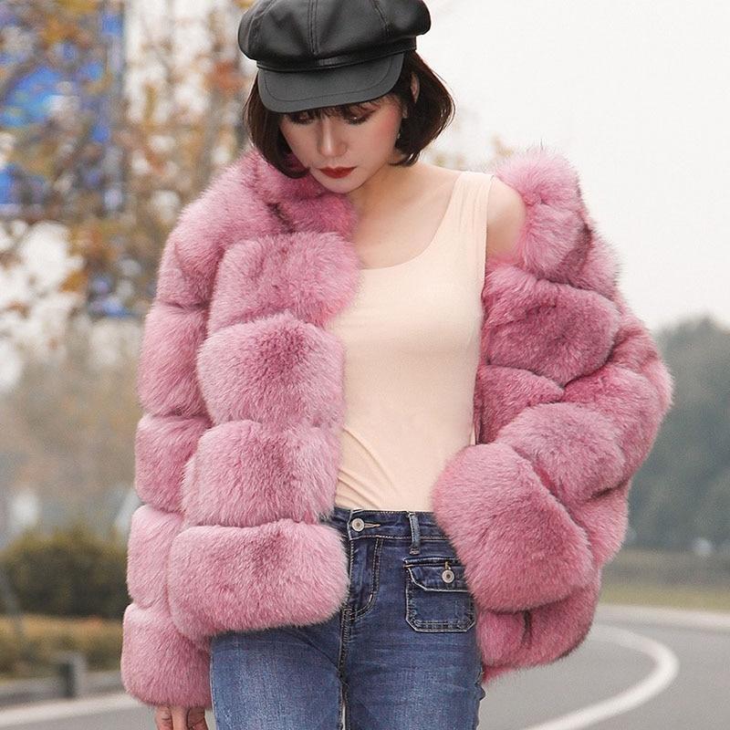Pelt Pleine Bffur Renard Veste Manteau Bleu Fourrure Solide Épais Avec Naturelle Habineige Collar Chaud Pink Parc Hiver Mandarin De Réel Femmes zqqBwp1