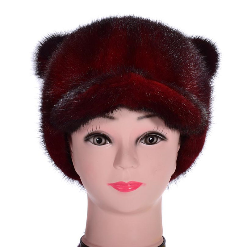 Luxe véritable femmes vison fourrure visière chapeaux avec queue dame hiver chaud casquettes VF7030