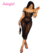 Adogirl Women Sexy Stripe Sheer Mesh Bodycon Club Dress with Pasties Slash Neck Off Shoulder Sheath Midi Party Summer