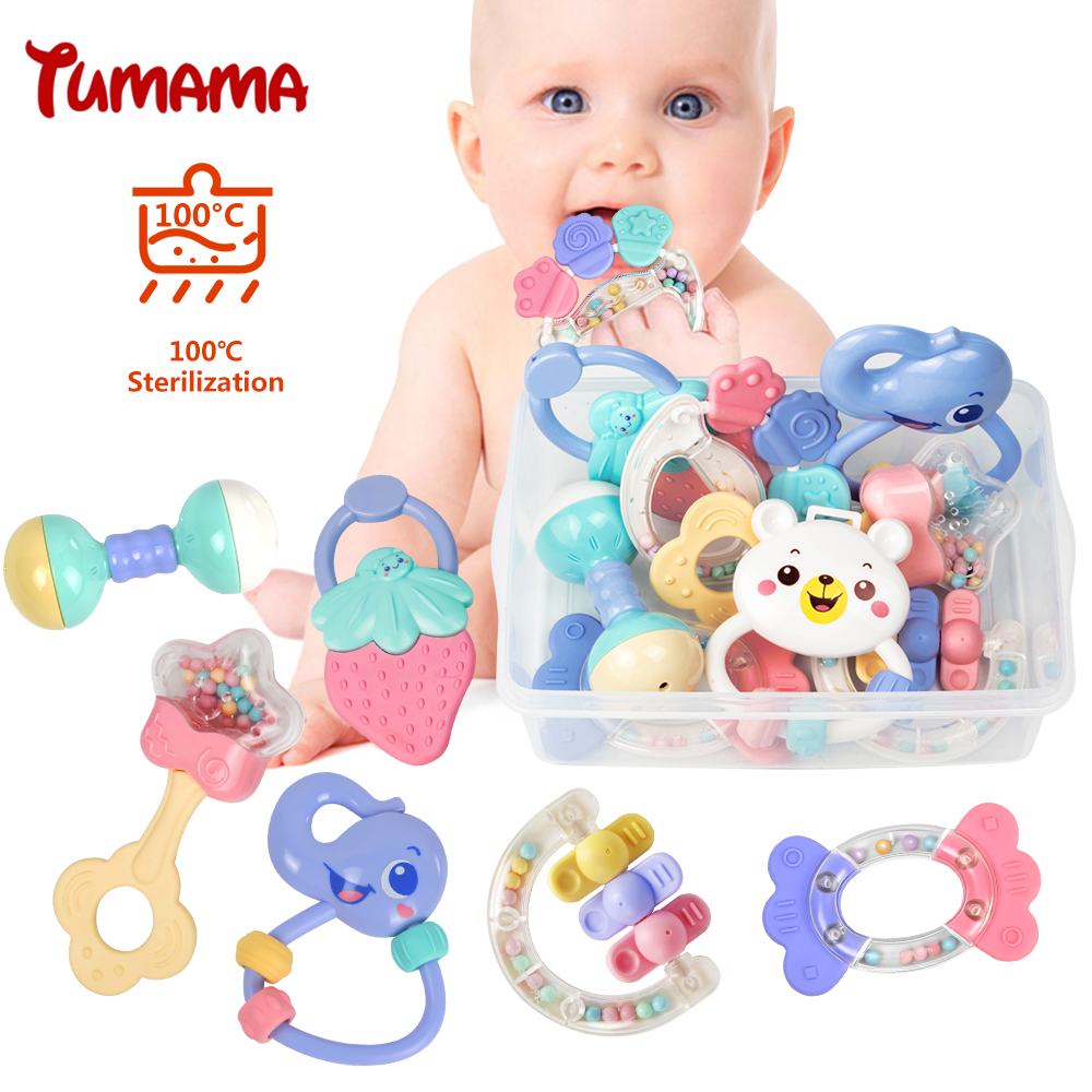 Bayi Rattles Mainan 8pcs Teether Muzik Hand Shake Bed Bell Newborns Plastic Animal Rattles Gift Pendidikan Mainan Bayi 0-12 Bulan
