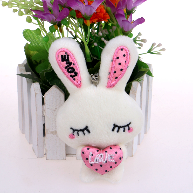 Cute Baby Girls Mini Rabbit Plush Toys Handmade Mixed Color Key Chain Pendant Home Wedding Decoration Heart Toys