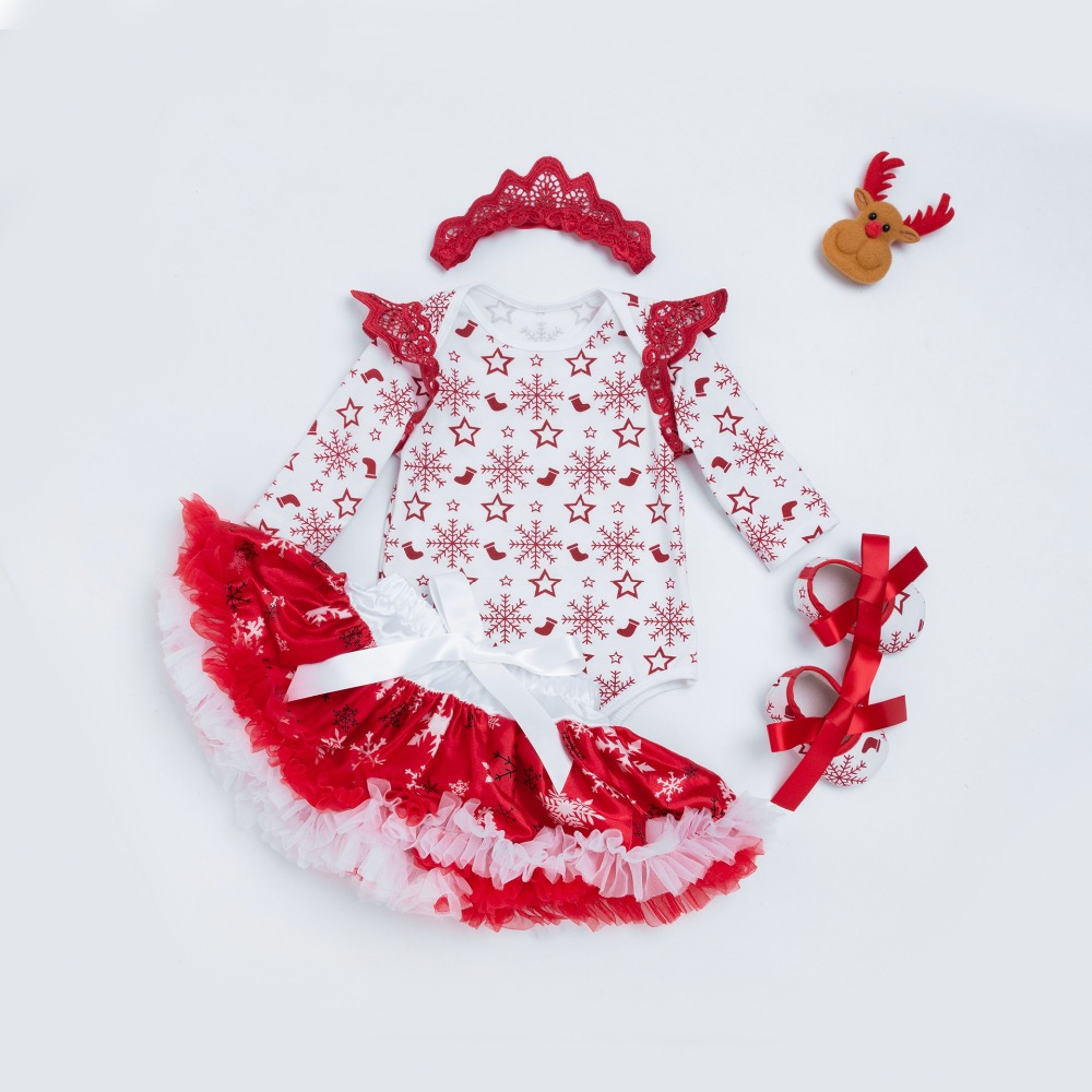 Christmas infant printed snowflake cotton bodysuits +lace tutu skirts +headwear +shoes 4pcs set bady girls party clothes 17S907