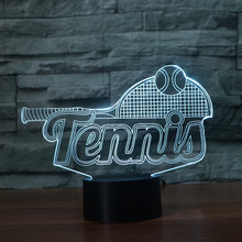 3D Tennis Racket Night Light LED Colorful Acrylic Touch Table Lamp Bedside Decor USB Baby Sleep Lighting Kids New Year Xmas Gift