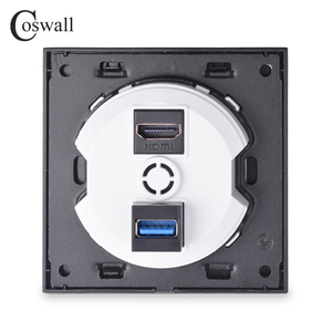 Image 3 - Coswall Crystal Tempered Glass Panel HDMI 2.0 Port USB 3.0 Jack Wall Power Socket Outlet AC 110~250V R11 Series