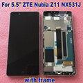 100% la mejor calidad para ZTE Nubia Z11 NX531J LCD pantalla táctil digitalizador con marco Sensor de Panel móvil piezas de reparación