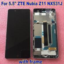 100% הטוב ביותר המקורי לzte נוביה Z11 NX531J LCD תצוגת מסך מגע digitizer עצרת עם מסגרת נייד פנל חיישן חלקי