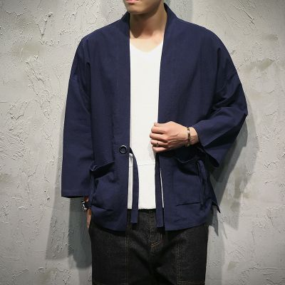 Shirts Streetwear Men Chinese Style Print Loose Short Sleeve Shirt Cardigan Coat Male Fashion Hip Hop Casual Kimono Shirt Jacket Casual Shirts