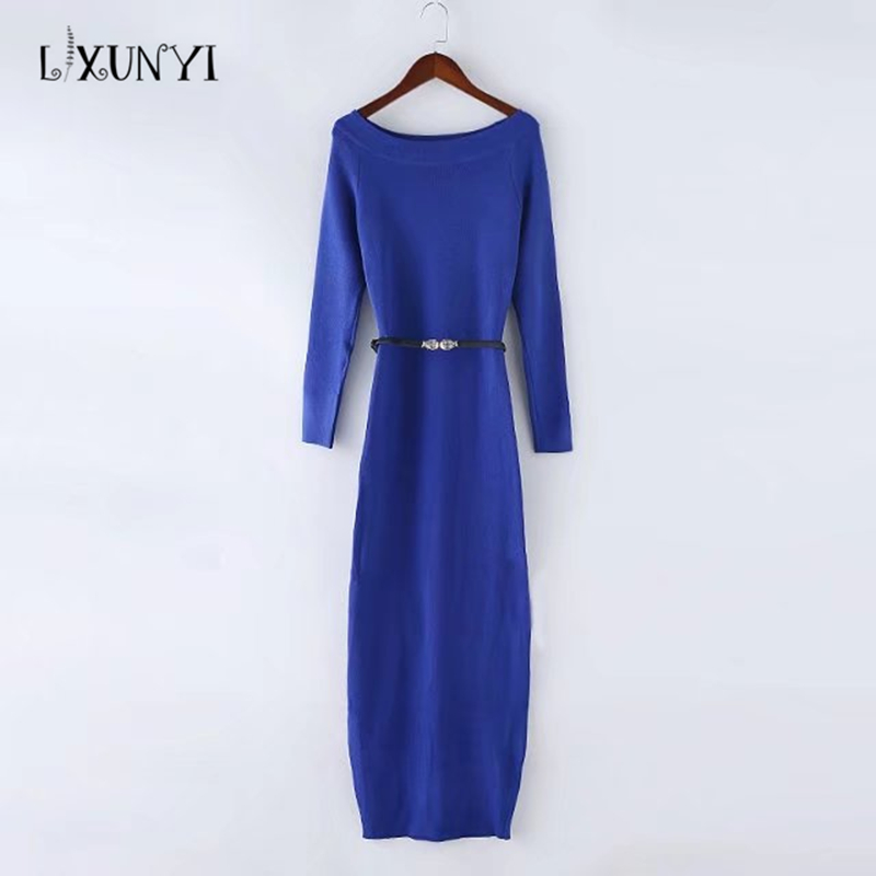 Fashion Long Sleeve Off Shoulder Slash Neck Sexy Club Women Dress Slim Bodycon Knitted Sweater Mid-Calf Party Night Dresses