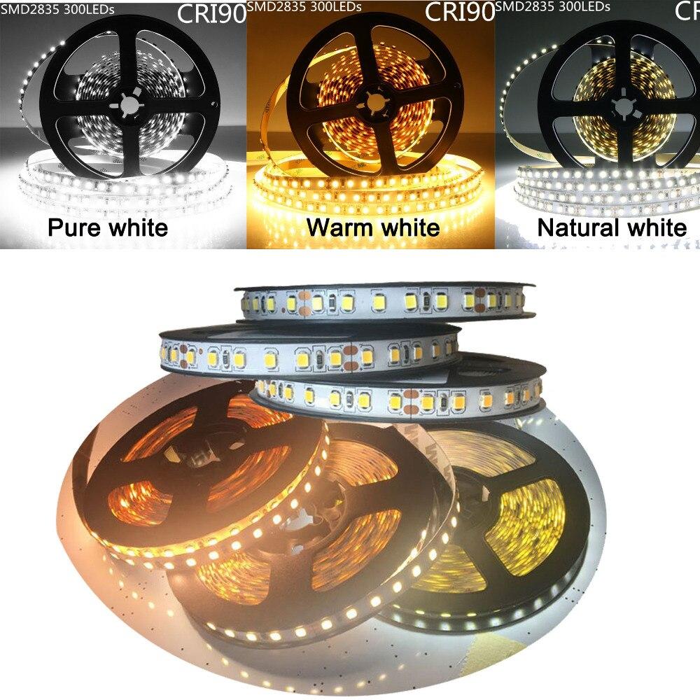 MARSWALLED alto CRI RA 90 + LED franja 2835SMD 12 V DC 5 M 300 leds de Nonwaterproof llevó la iluminación para vacaciones Cocina
