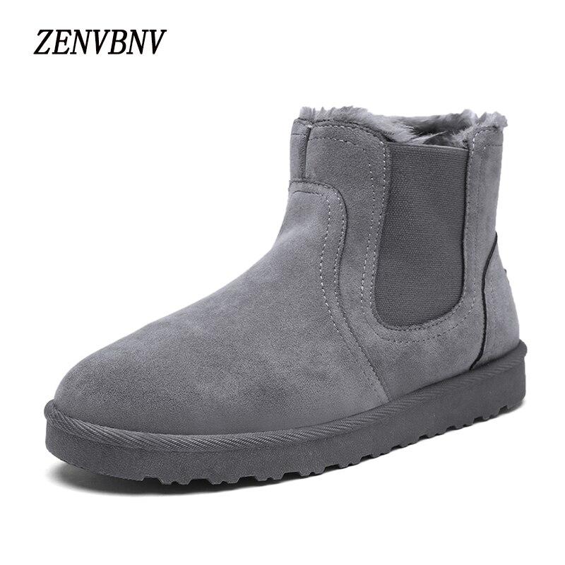 Zenvbnv Новинка 2017 года Высокое качество Мужские лёгкие ботинки Для мужчин зимние Для мужчин; флоковые плюшевые теплые зимние сапоги слипоны в…