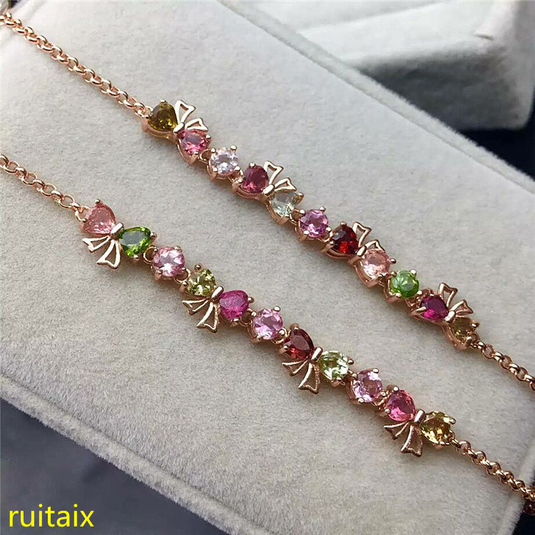 KJJEAXCMY fine jewelry S925 sterling silver bracelet natural tourmaline butterfly polychromatic gem female jewelry free shippingKJJEAXCMY fine jewelry S925 sterling silver bracelet natural tourmaline butterfly polychromatic gem female jewelry free shipping