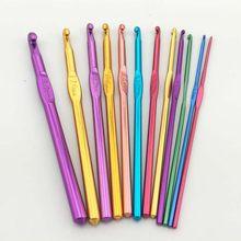 Agulhas de crochê de liga de alumínio, agulhas para costura, ferramenta de tecelagem, tricô, 2mm 3mm, 1 peça 4mm 5mm 6mm 7mm