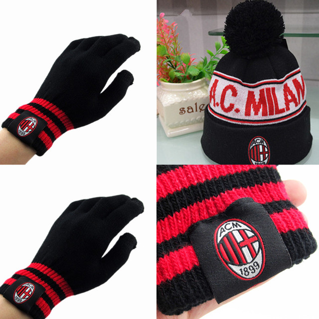 (1set) Italy AC Milan ski hat Snowboard Winter Ski caps and gloves football  badge Hats Beanies for men woman 250cd1f2e7c8