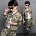 Мальчики детская одежда набор осень подростки спортивный костюм пальто брюки 2 шт. школа детская одежда спортивный костюм 4 ~ 13 лет Мальчики одежды