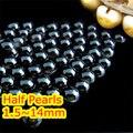 1.5 mm ~ 14 mm elección negro Jet Color posterior plana ABS ronda la mitad perla de los granos, imitación de plástico media perla de perlas