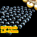 1.5mm~14mm All Choice Black Jet Color Flat back ABS round Half Pearl beads, imitation plastic half pearl beads