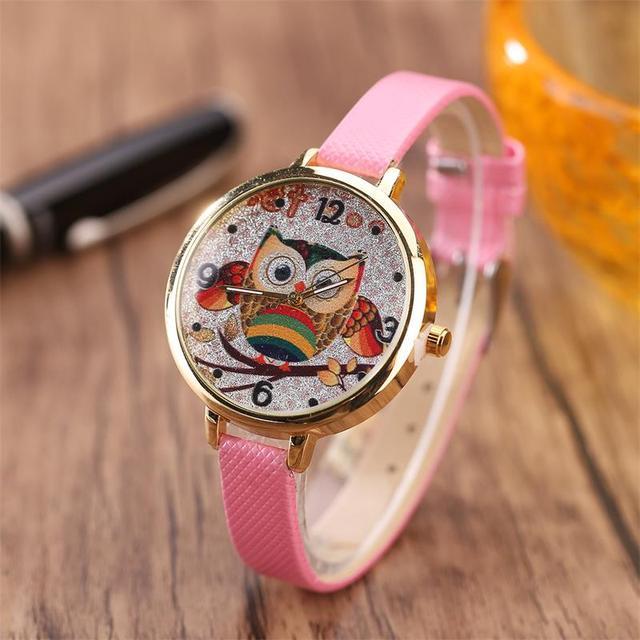 MINHIN Cartoon Owl Design Women Quartz Watch Multi Colors