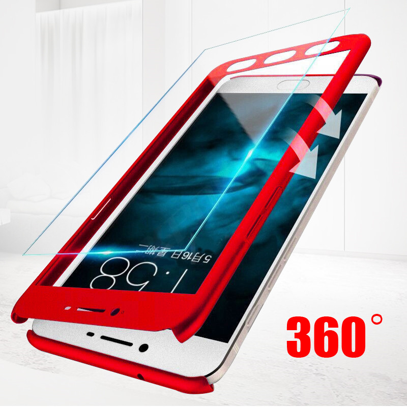 Meizu M6 M5 Note M3 Note M6 M6S Full Cover 360 Degree Luxury Hard Plastic Matte Case Meizu Pro 7 M6 M5 NOTE Case Tempered Glass