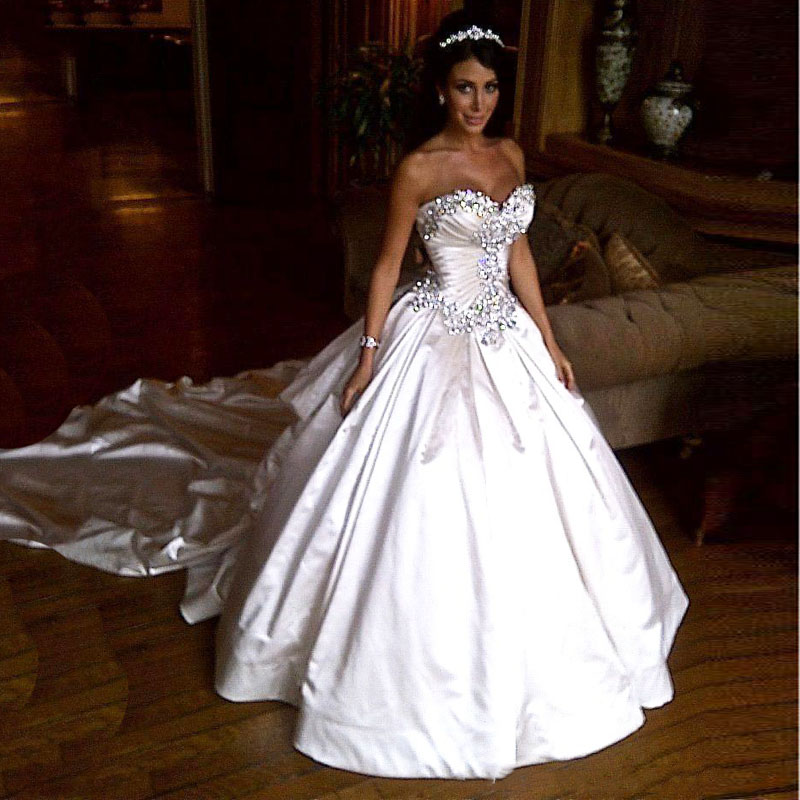 Wedding Dressing Gowns Personalised: Crystal Strapless Long Train Princess Wedding Dress Bride