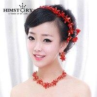 HIMSTORY Coroa Tiara de jóias de Casamento da noiva vermelho 3 pçs/set colar brincos coroa de cabelo de cristal vermelho conjuntos de jóias
