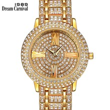 Dreamcarnival 1989 Hot Selling Full Crystals Watches for Women Luxury Design Round Alloy Case Stones Dial Party Must Have 15612(China)
