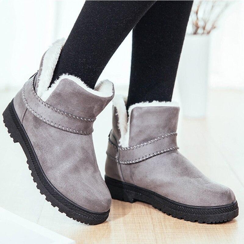 gris Beige Las negro Invierno Moda rojo Botas 2017 Zapatos Llegada Caliente Nueva Tobillo Nieve De Mujeres 6dFx1