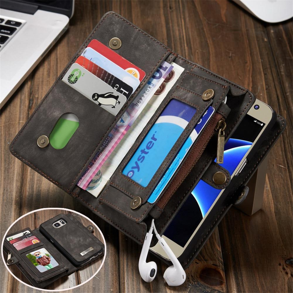 imágenes para Casos Cartera de Cuero para Samsung Galaxy Plus S7 S8 CaseMe Borde de Lujo Cubierta Del Teléfono móvil para el iphone 7 6 6 S Plus con Titular de la Tarjeta