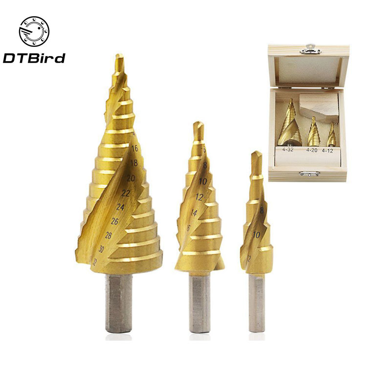 3/pcs 4-12/20/32mm HSS Spiral Grooved Center Drill Bit Solid Carbide Mini Drill Accessories Titanium Step Cone Drills