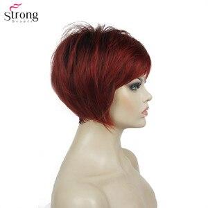 Image 5 - Strongbeauty 합성 가발 여성 부르고뉴/금발 자연 가발 짧은 스트레이트 가발