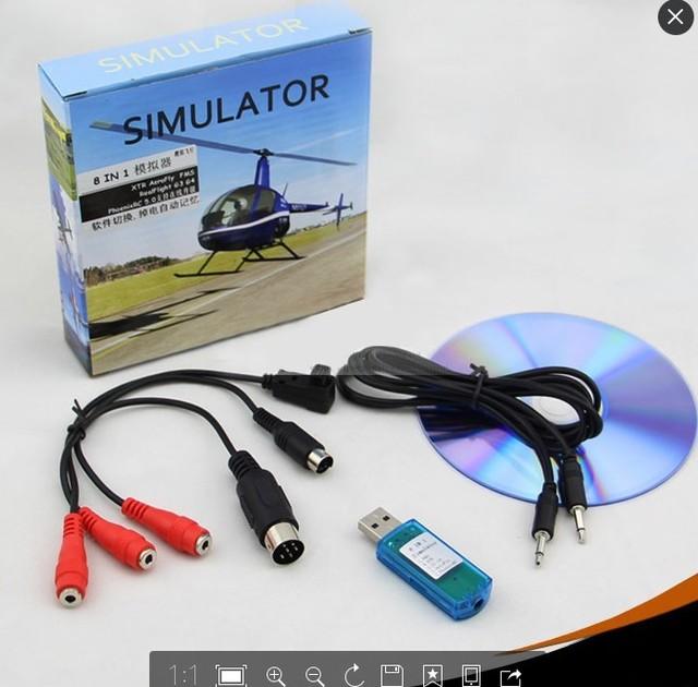 8in1 USB Flight Simulator Cable (Phoenix,RealFlight G4,XTR,AeroFly,FMS) forFutaba ESky JR WFLY 4-8Ch Skill Traning Free Shipping