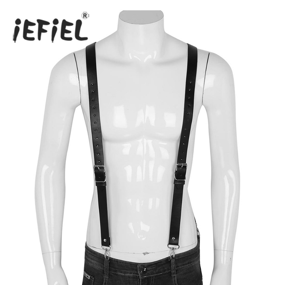 iEFiEL Mens Imitation Leather Double Shoulders Adjustable Braces Belt Suspenders with Buckles and Clasps for Cosplay Clubwear