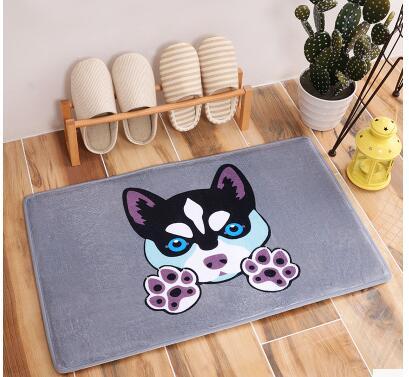 40*60cm Light Thin Anti Slip Mats Brief Cute Cartoon Bulldog Puppy Dog Mats Welcome Home Entrance Door Floor Flannel Rug
