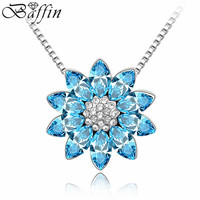 High Quality Luxury Crystal Flower Necklaces Pendants Made With Swarovski ELements Women Costume Jewelry
