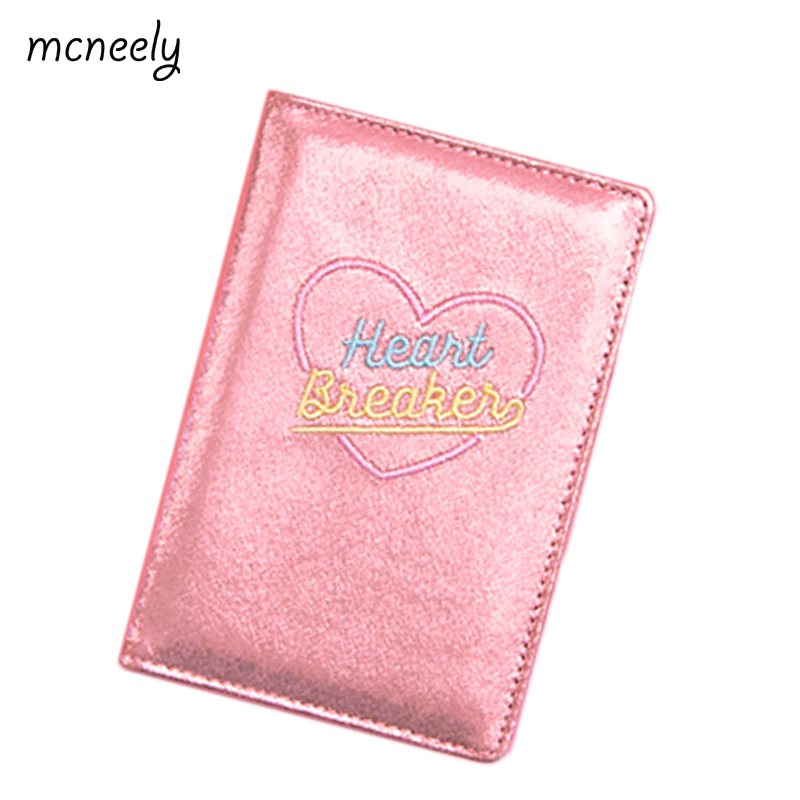 67cd1b68c Mcneely Girls Embroidery love Travel Passport Cover Wallet Laser flash  material Credit Card Package Fashion Passport Holder
