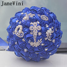 JaneVini 2018 Royal Blue Kristal Bridal Bouquet untuk Pernikahan Buatan Satin Bunga Rose Buque De Noiva Pernikahan Accesssories(China)