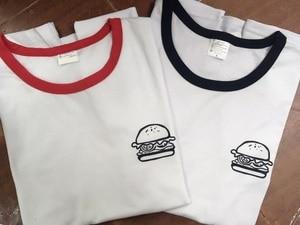 hamburger ringer T-Shirt Graphic Hamburger Print Crewneck Unisex Pocket Burger Shirt Fashion Tumblr Outfits Clothing Shirts Tops(China)