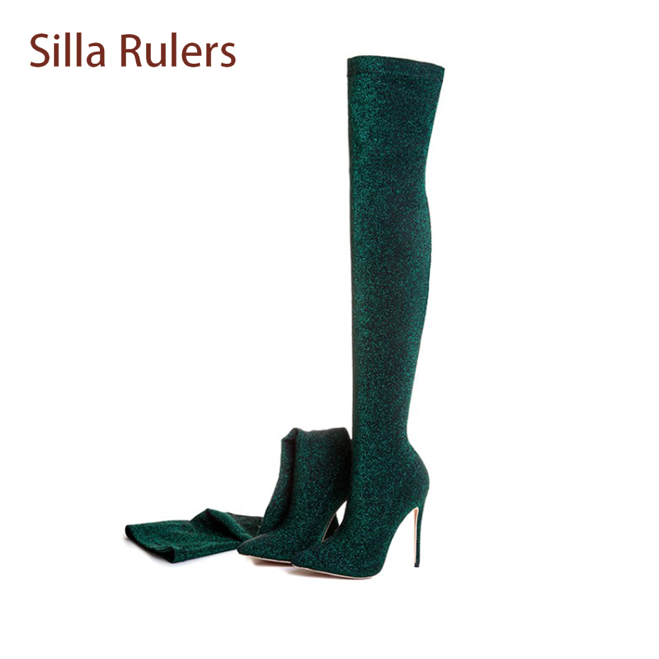 Silla Rulers Bling Sequins Over The Knee Boots Women Sexy Pointed Toe Stiletto Heel Sock Boots Fashion Thigh High Stretch Boots hot runway sexy women boots stretch silk pointed toe stiletto high heels over the knee boots jersey thigh high boots shoes woman