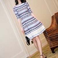 Autumn Women S 2017 Vintage Jacquard Expansion Bottom Lace Patchwork Stripe Knitted One Piece Dress