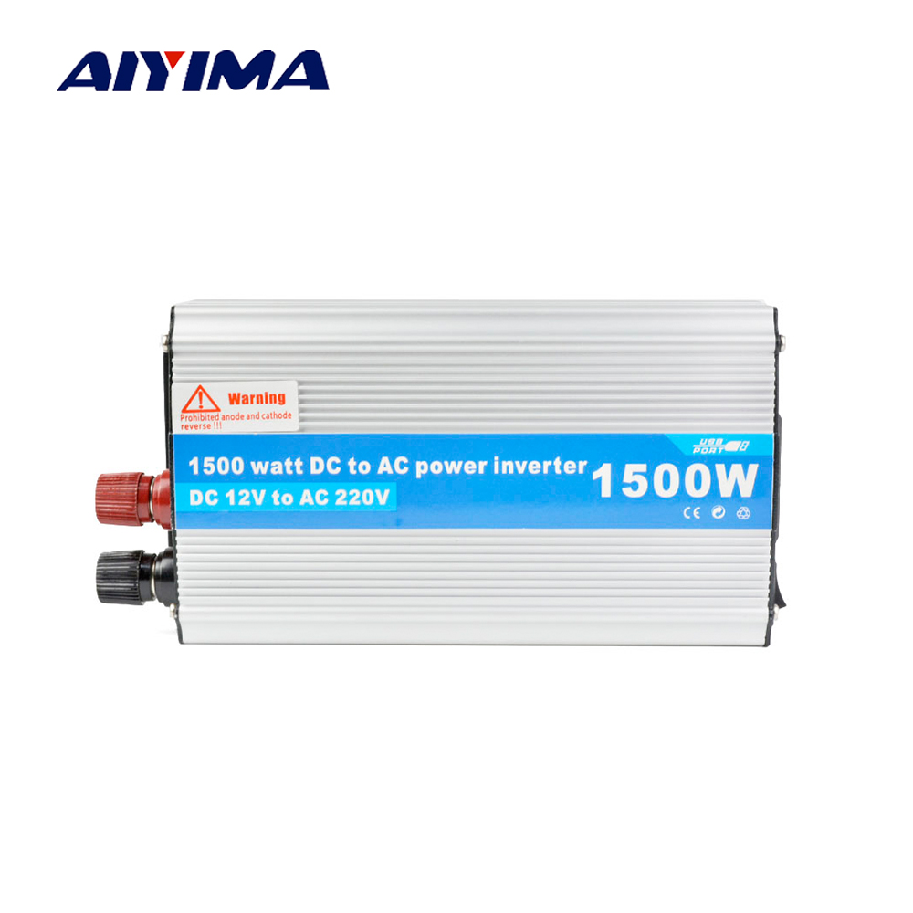 Aiyima USB 1500W Watt DC 12V to AC 220V Car Inverter DC 12V Solar Inverter Modified Sine Wave Laptop Adapter Converter Charger catuo 1500 watt dc 12v to ac 220v power inverter charger converter 1000w dc 24 to ac 220 car charger adapter drop shipping
