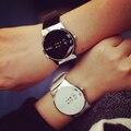 Moda LED Relógios Das Mulheres Digitais Assistir Mulheres Relógios de Alta Qualidade Relógio De Couro do PLUTÔNIO Dos Homens Casuais Preto Branco AZ084