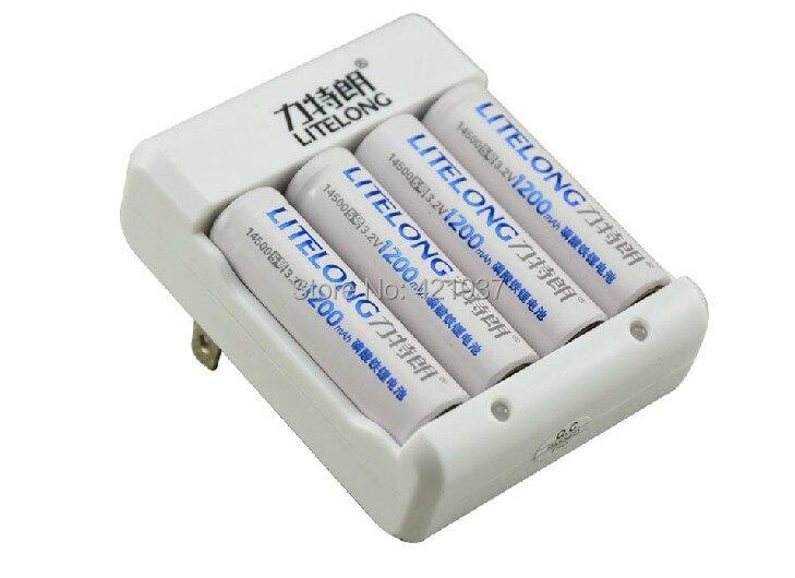Free shipping 4pcs LITELONG 3.2v LiFePO Battery 1200mah 3.2v 14500 rechargeable battery + charger