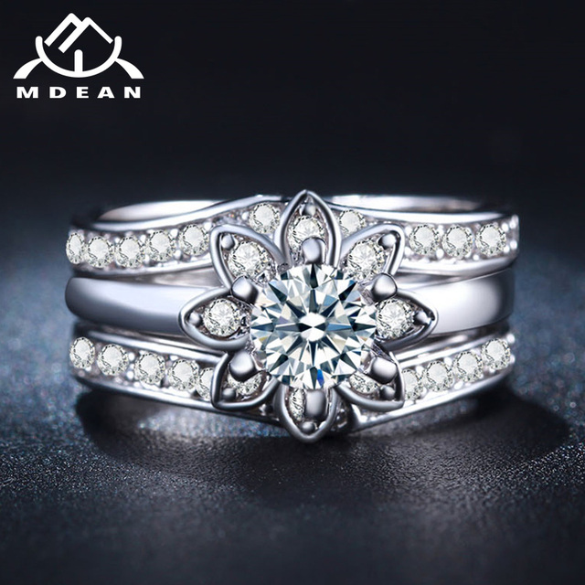 MDEAN White Gold-Color Wedding Rings Sets for Women Vintage AAA Zircon Jewelry Engagement Bijoux Bague Size 6 7 8 MSR231