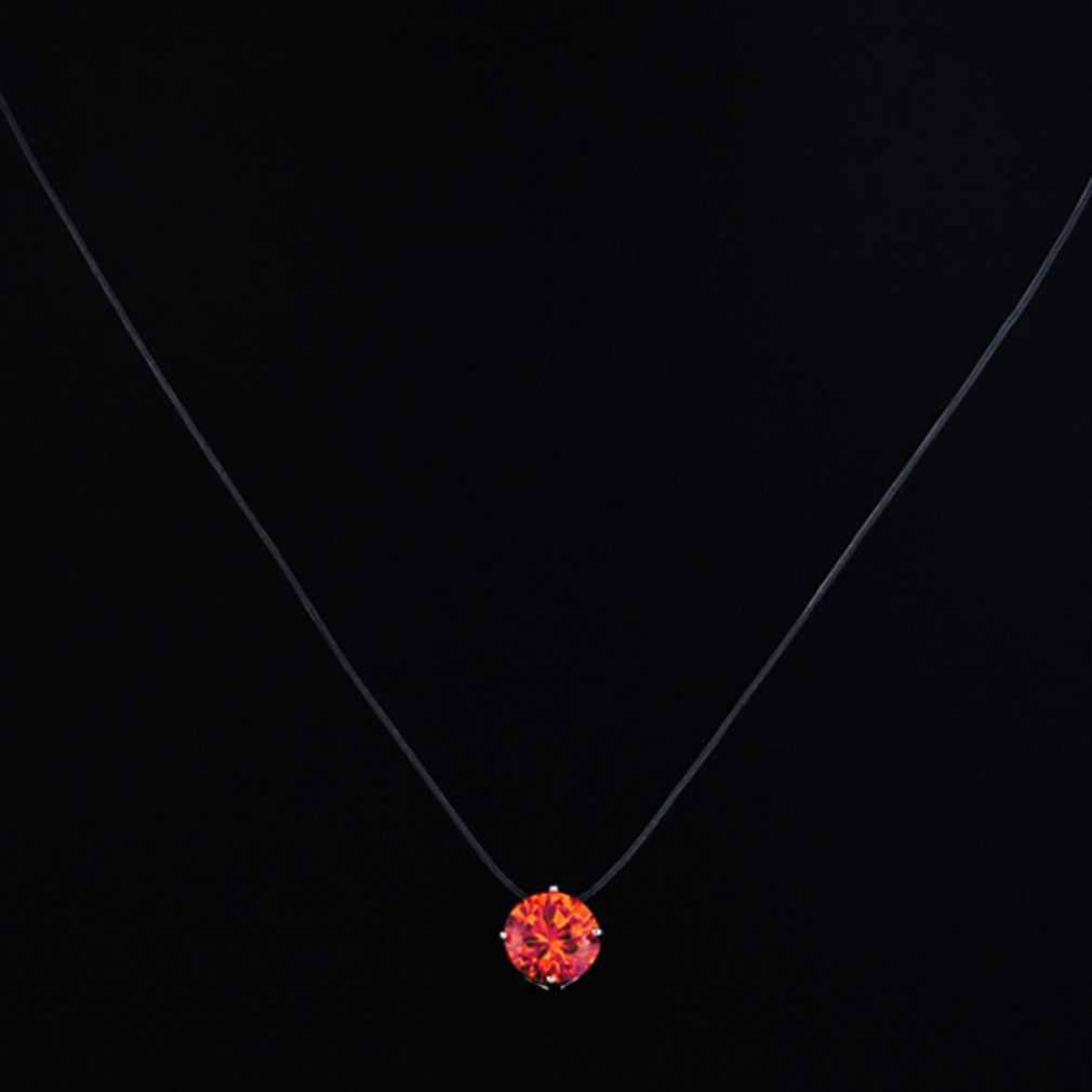 Piedra colgante de forma de Color oro y plata collar de cadena de moda de mujer fiesta boda línea de joyería transparente cadena