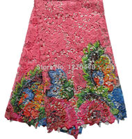 ItemNo.IM1-4!Big quality ROSE RED printing embroidered water soluble lace,most popular African guipure lace fabric for